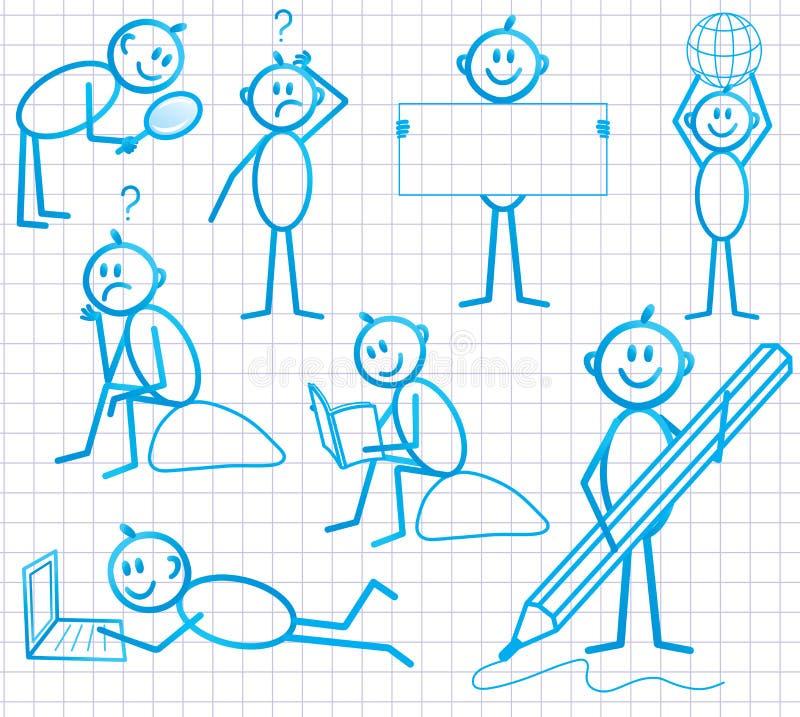 Set of funny cartoon little man stock illustration