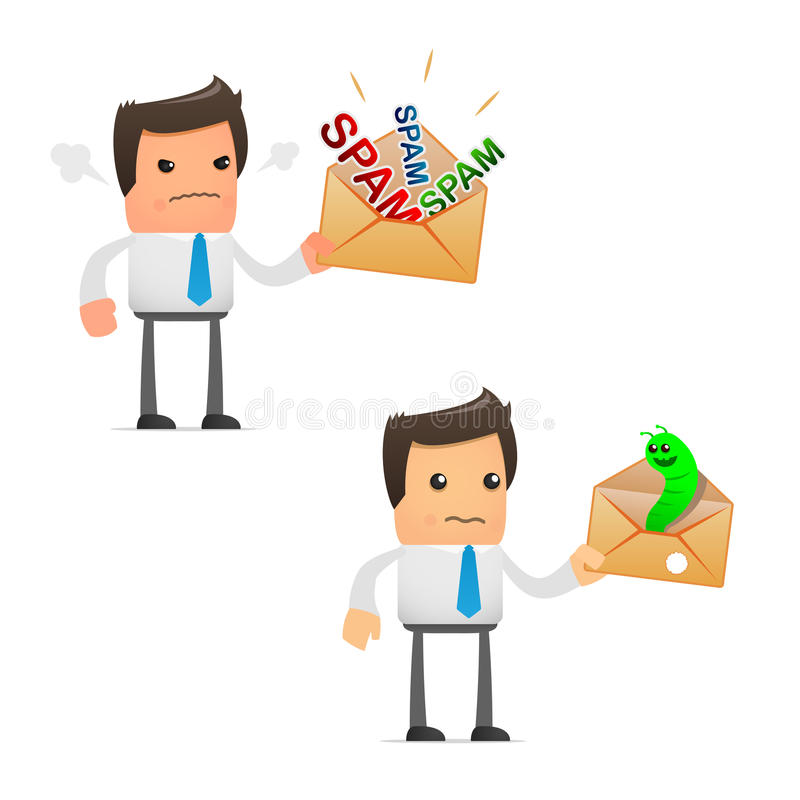 Set of funny cartoon manager stock illustration