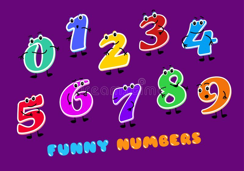 Set of funny cartoon numbers Characters. kids figures one, two, three, four, five, six, seven, eight, nine, zero. Set of funny cartoon numbers Characters. kids royalty free illustration