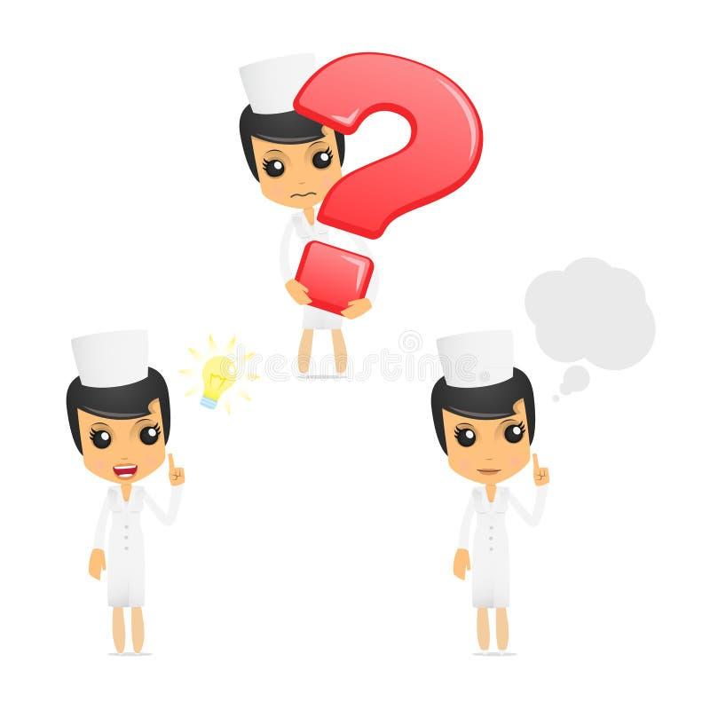 Set of funny cartoon nurse vector illustration