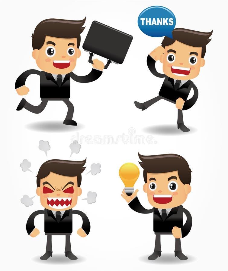 Set of funny cartoon office worker stock illustration