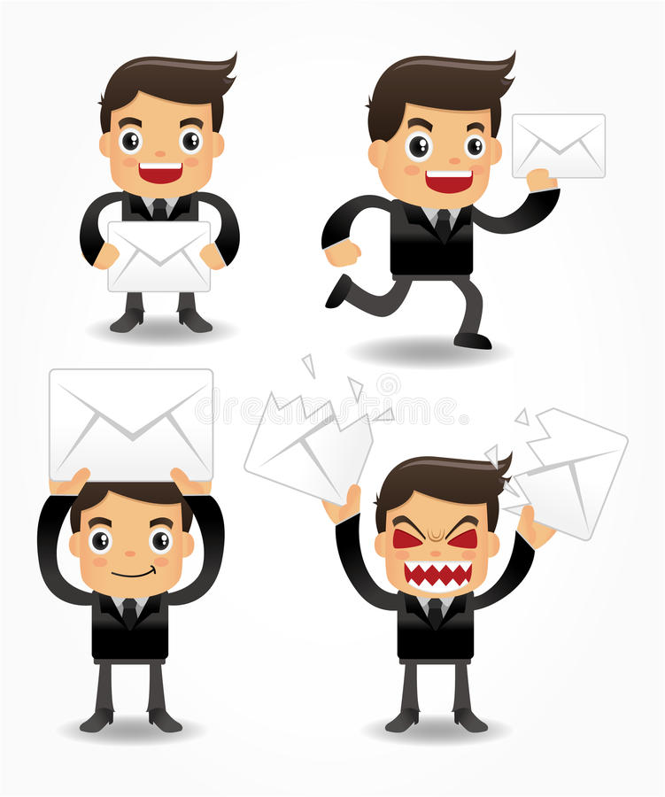 Set of funny cartoon office worker with email icon royalty free illustration