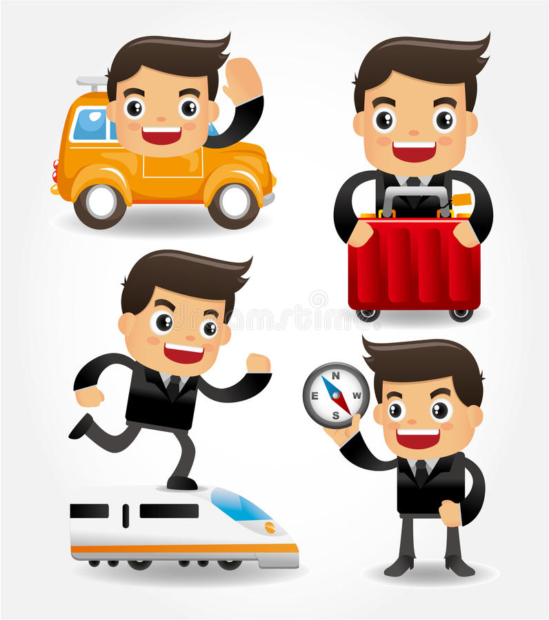 Set of funny cartoon office worker go to travel royalty free illustration
