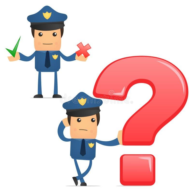 Download Set Of Funny Cartoon Policeman Stock Vector - Illustration: 21248550