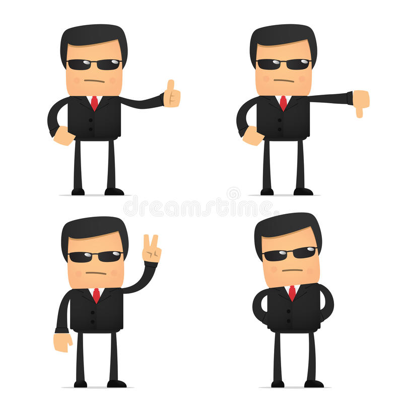 Download Set Of Funny Cartoon Security Stock Vector - Illustration: 21242831