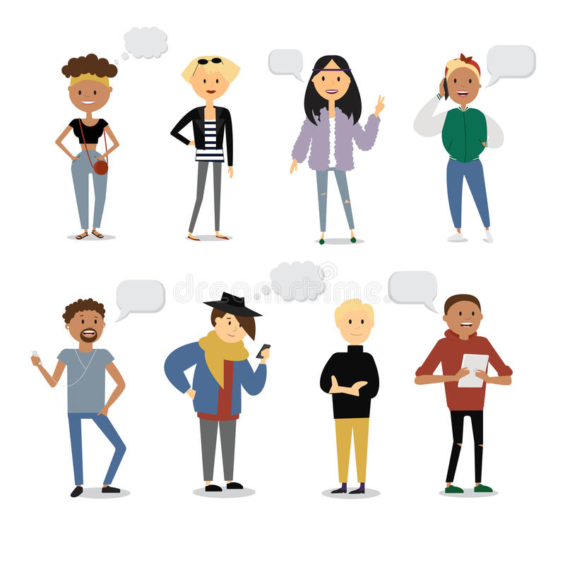 Set of funny cartoon youth characters with different shaped speech bubbles. Street casual style, modern fasion. Flat royalty free illustration