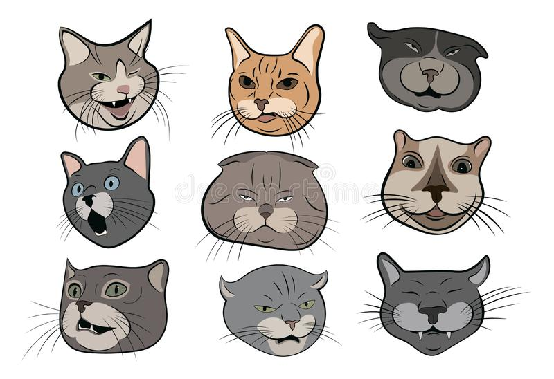 Set of funny cats. Collection of portraits of crooked cats. Cat head cartoon. Vector illustration of pets. royalty free illustration