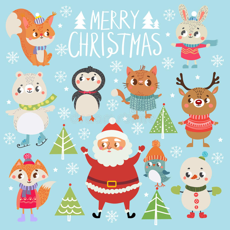 Set of funny Christmas personages. Christmas characters. Collection with cute animal vector illustration