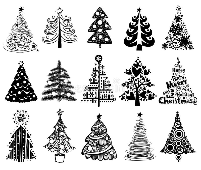 Set of Funny Christmas Trees. royalty free illustration
