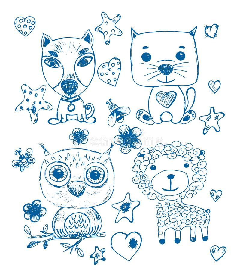 Set Of Funny Cool Fantasy Animals For Children Coloring ...