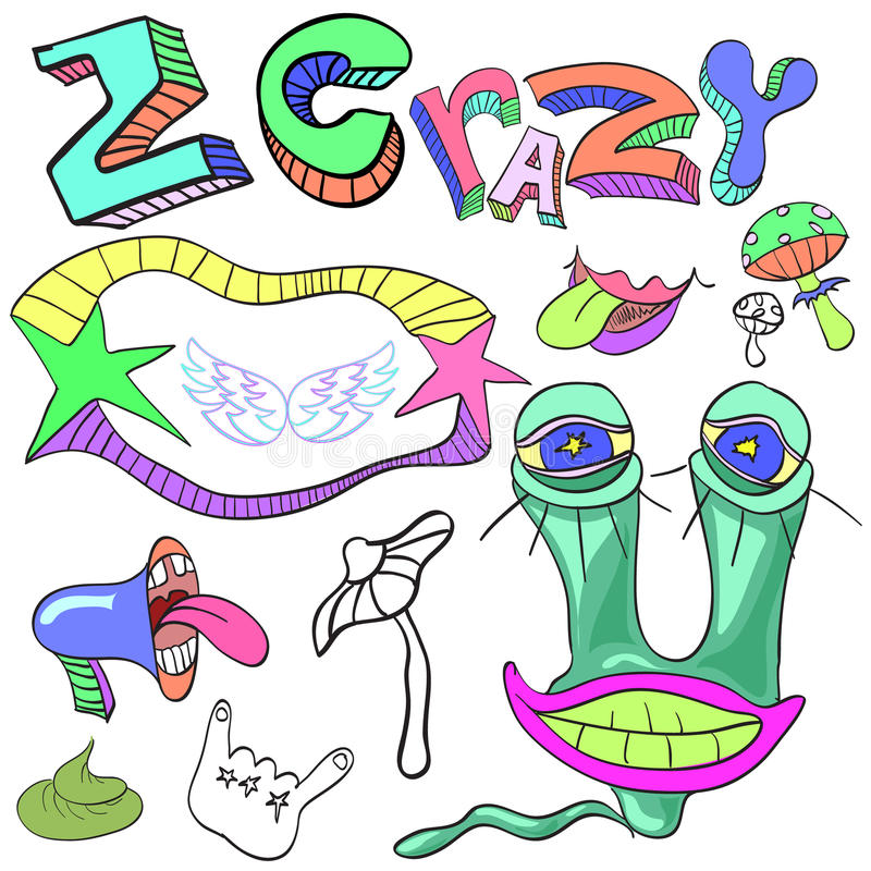 Set of funny crazy characters , signs, aliens , imaginary , cart. Set of funny crazy characters , signs, aliens stock illustration