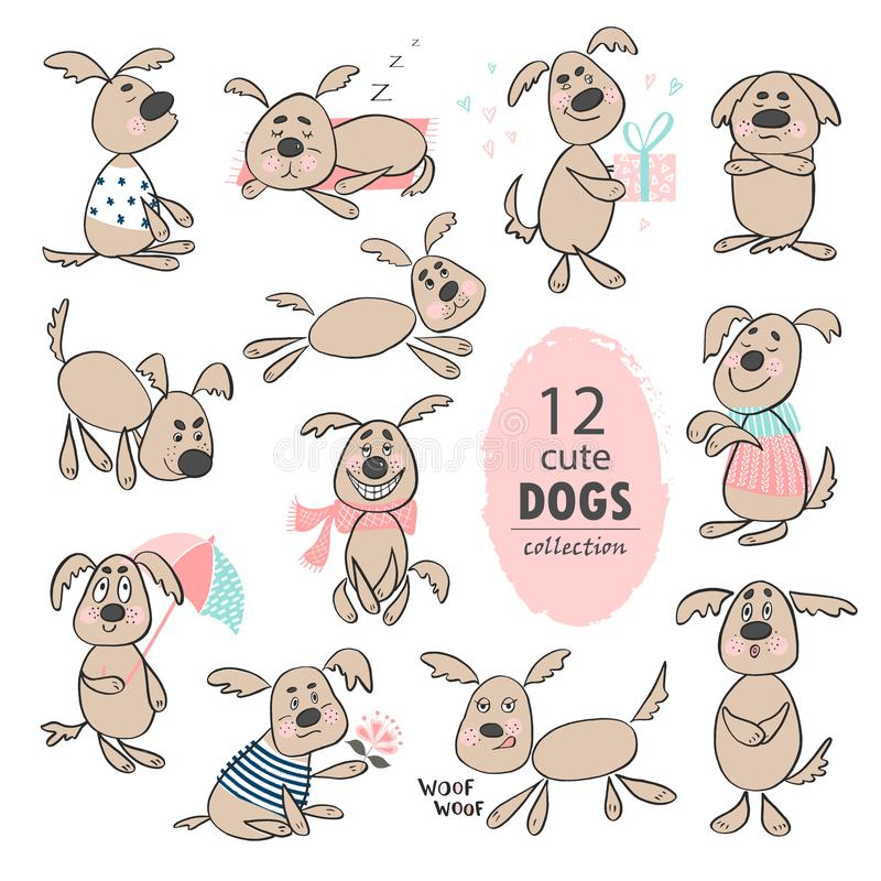 Set of funny cute cartoon dogs. Hand drawing isolated objects on white background. Vector illustration. royalty free illustration