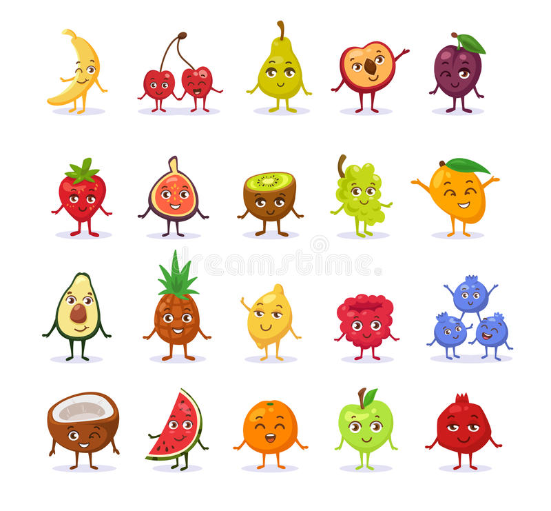 Set of funny cute cartoon fruits. stock images