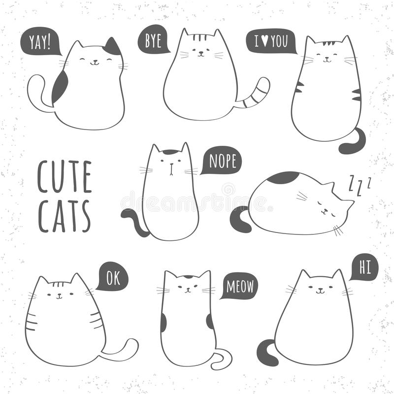 Set of funny cute cats royalty free illustration