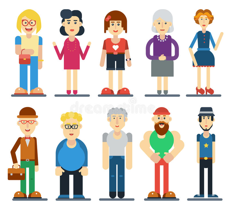 Set of funny cute people. Vector cartoon characters. royalty free illustration