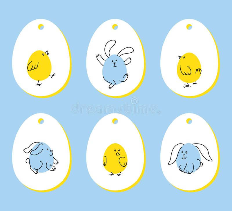Set Of Egg Shaped Tags Stock Vector Illustration Of