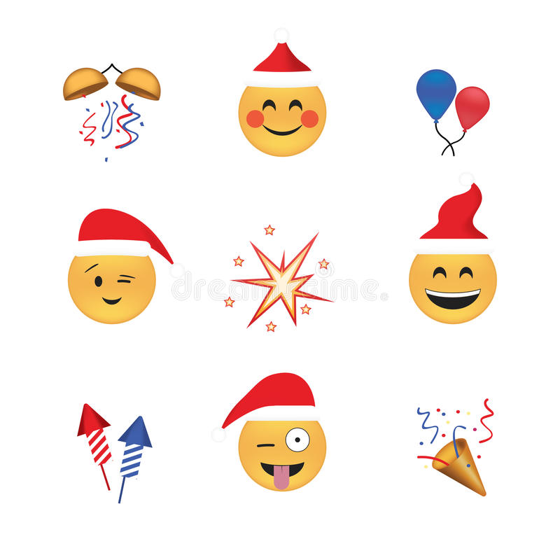 Set of funny emoticon vector isolated on white background. New Year theme. royalty free illustration