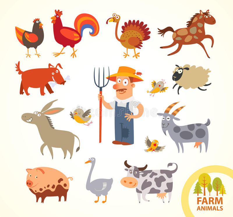 Free Set Funny Farm Little Animals. Cartoon Character Royalty Free Stock Images - 48375479