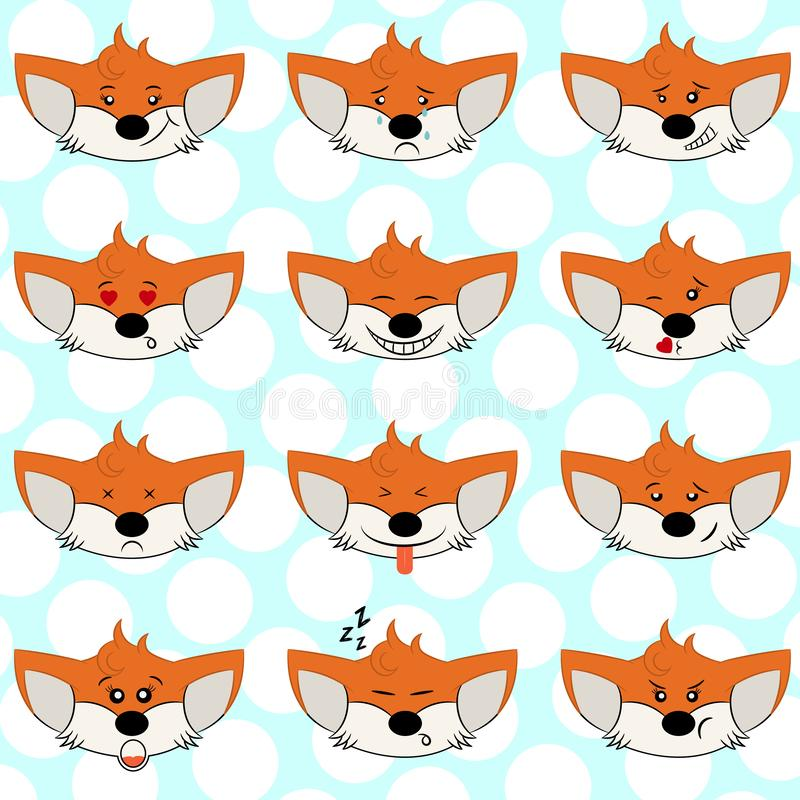 Set of funny fox emoticons - smiling orange foxes with different emotions from happiness to angry. Can be used for logos, icons. Set of funny fox emoticons royalty free illustration