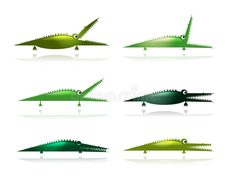 Download Set Of Funny Green Crocodiles For Your Design Stock Vector - Image: 33297626