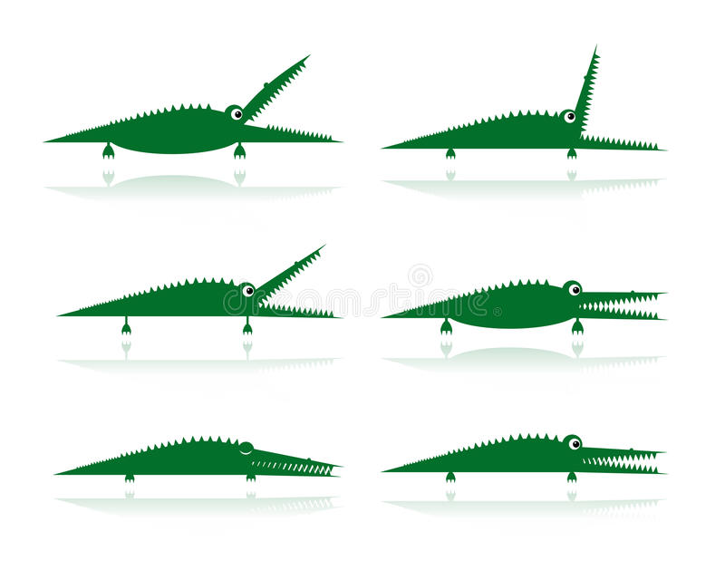 Download Set Of Funny Green Crocodiles For Your Design Stock Vector - Image: 33297629