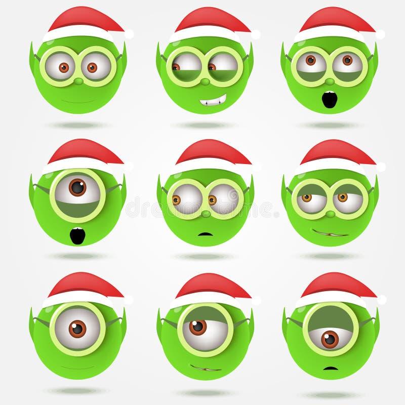 Set of funny green Santa's elfs smiles in goggle glasses.  vector illustration