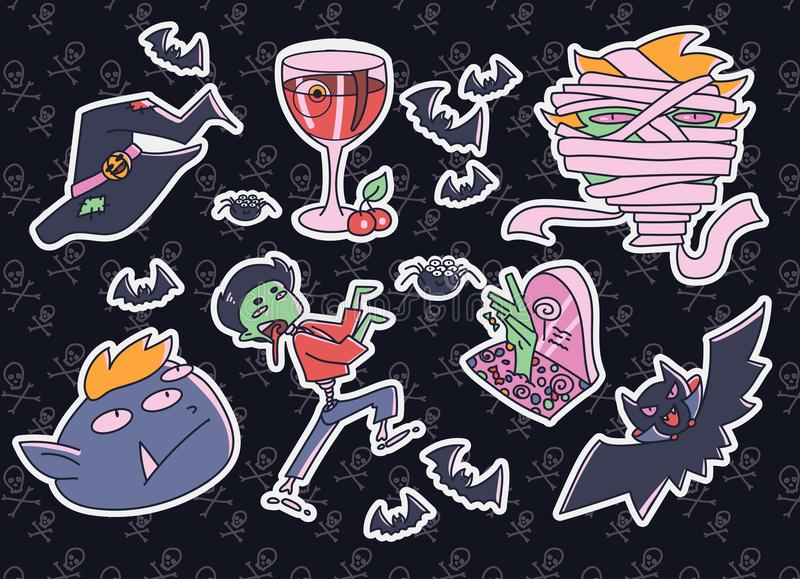 Set of funny Halloween elements. Witch hat, blood wine, monsters royalty free illustration