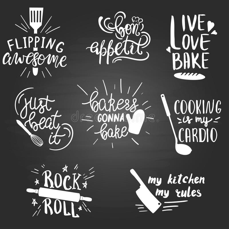 Set Of Funny Hand Drawn Kitchen And Cooking Quotes. Stock ...