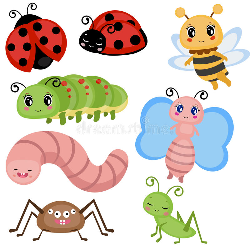 Set funny insects. Cartoon character. on white background stock illustration