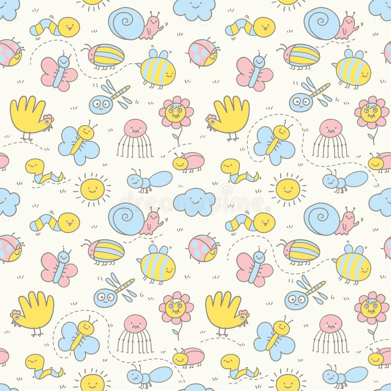 Seamless pattern for Baby. Set of funny insects in a children`s style. Seamless pattern for Baby. Background in pretty pastel colors. Great for textiles royalty free illustration