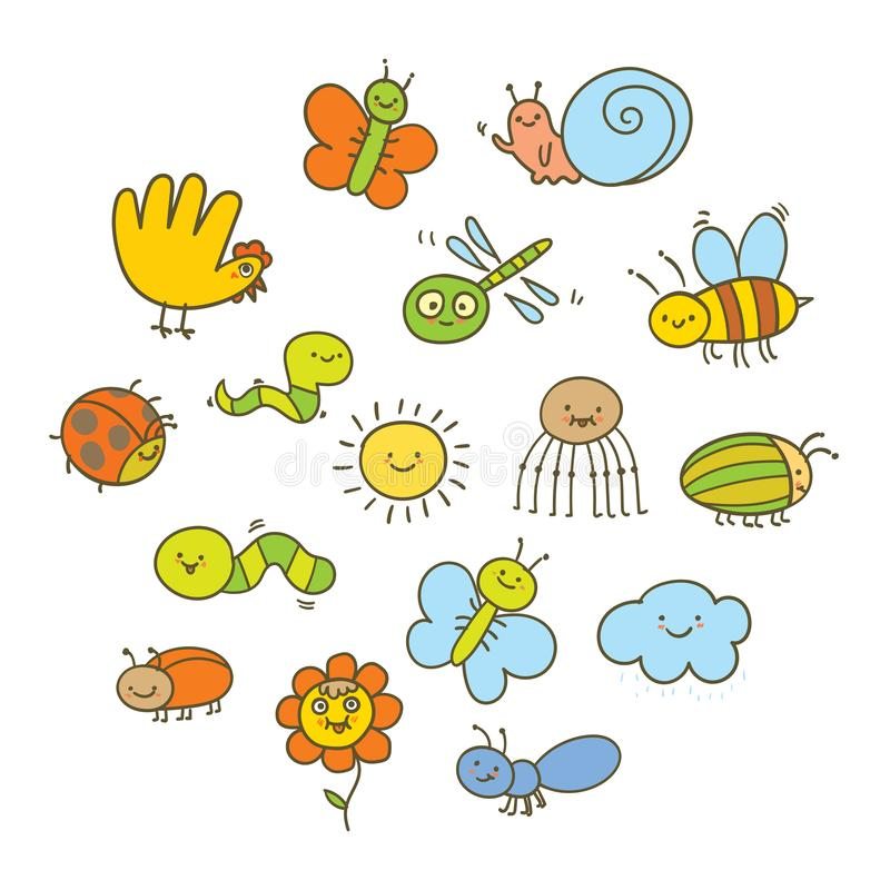 Set of funny insects in a children`s style. Funny cartoon colorful character. Vector illustration. Isolated on white background royalty free illustration