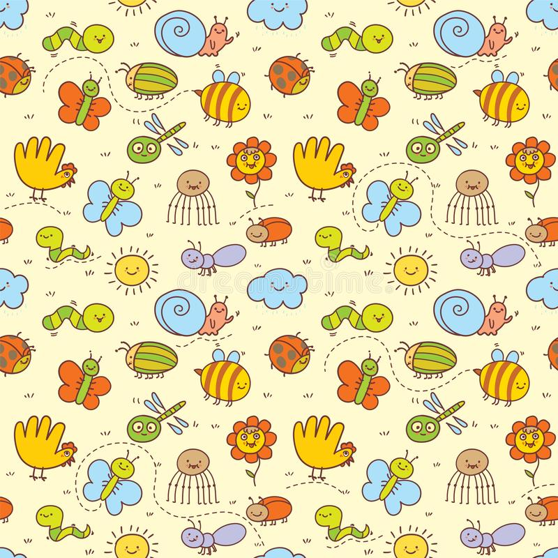 Set of funny insects in a children`s style. Seamless pattern for Baby. Background in pretty colors. Great for textiles, scrapbook, surface textures. Cartoon royalty free illustration