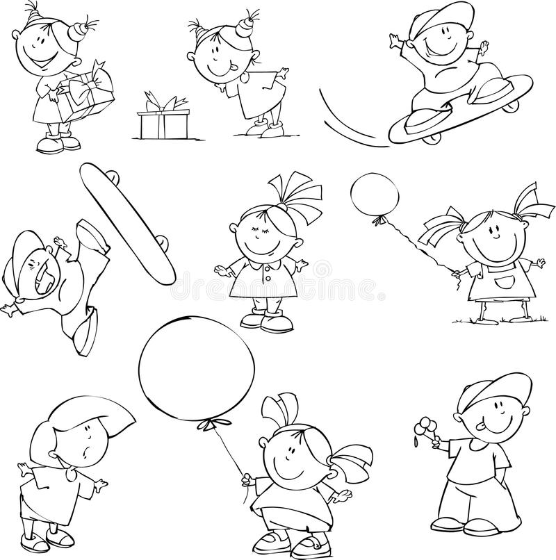 set of funny kids royalty free stock images