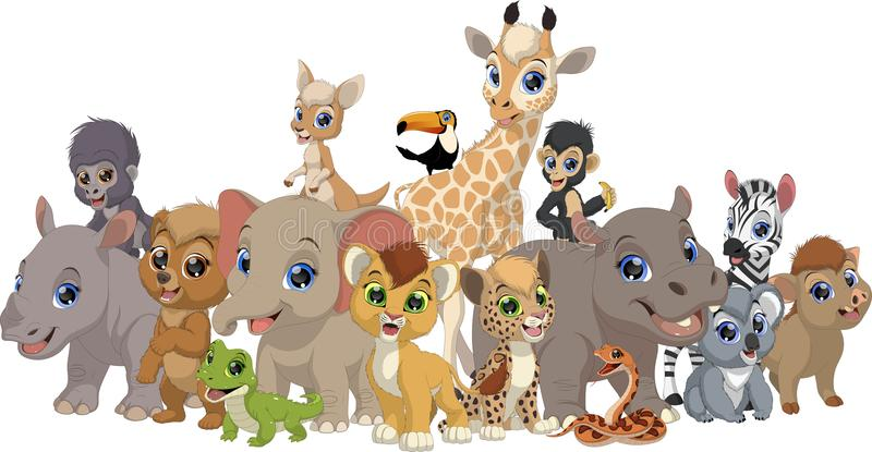 Set of funny kids animals vector illustration