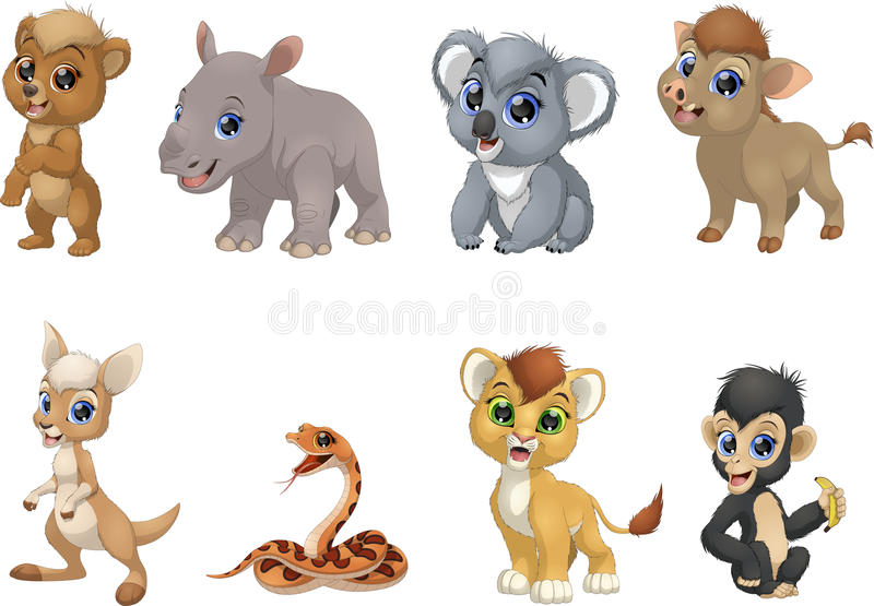 Set of funny kids animals royalty free illustration