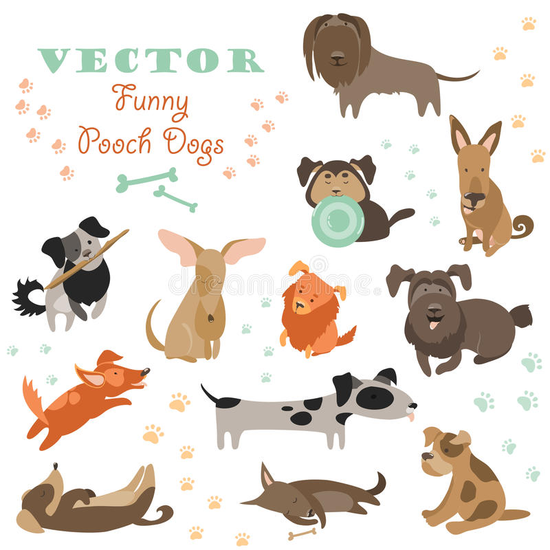 Set of funny Mixed Breed dogs royalty free illustration