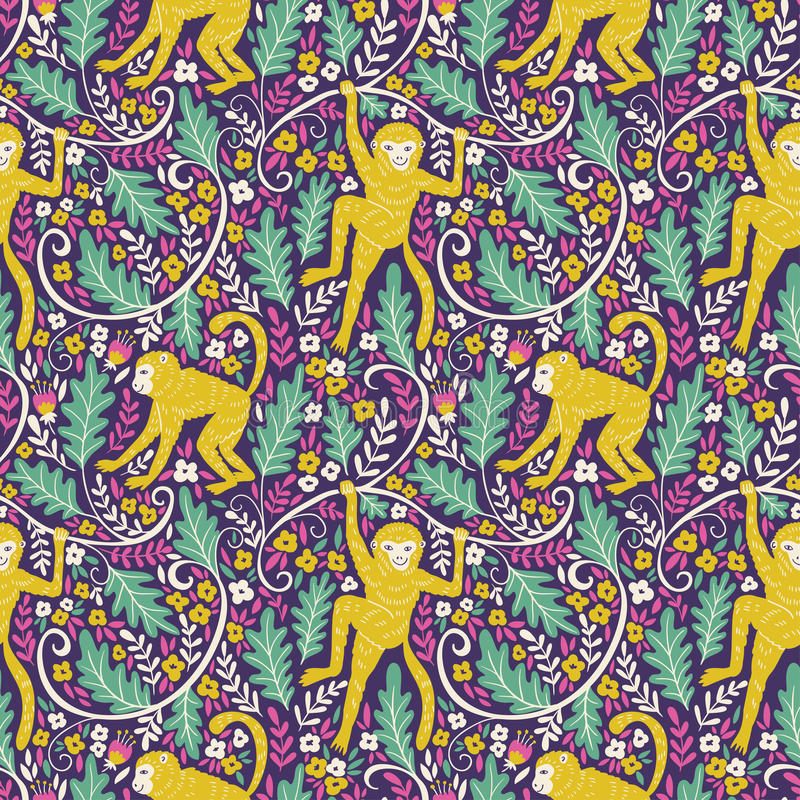 Set of funny monkeys in different poses in the jungle. Vector seamless pattern for your animal fabric design. royalty free illustration