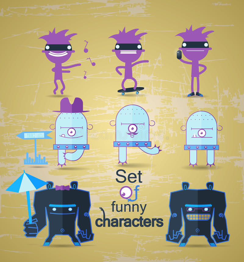Set of funny monsters royalty free illustration
