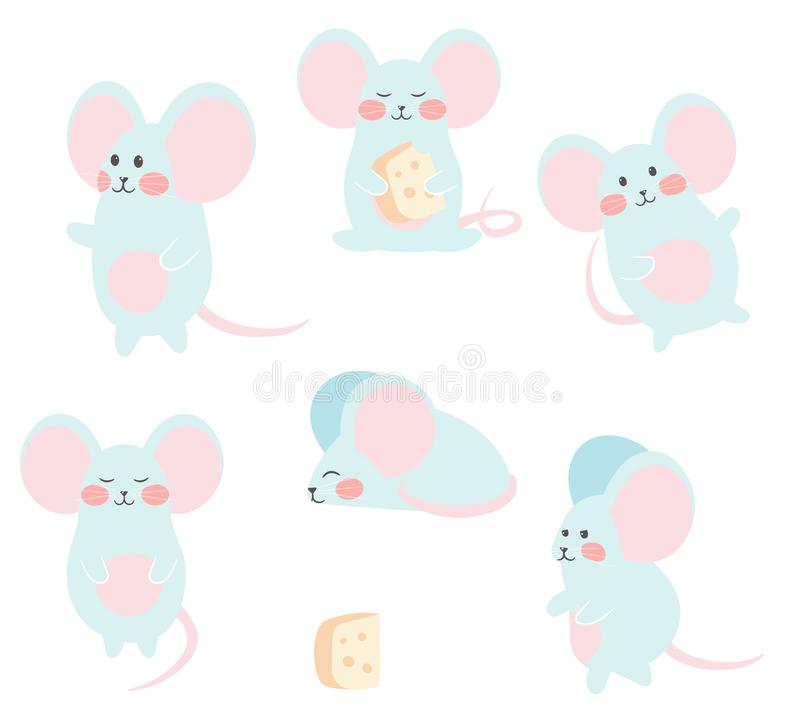 Set of funny mouse with cheese for design. Cute little mice in different poses. Vector illustration. stock illustration