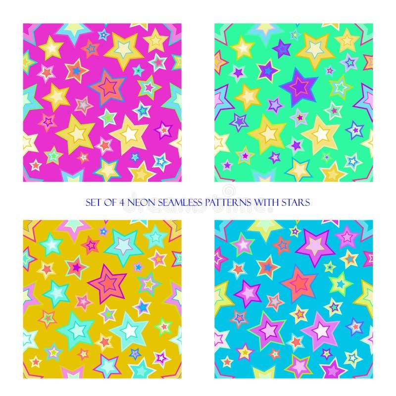 Seamless patterns with stars stock illustration