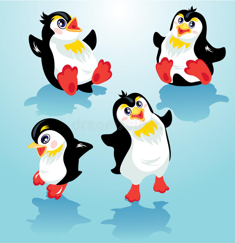 Set with funny penguins on blue icy background, cartoons for win royalty free illustration