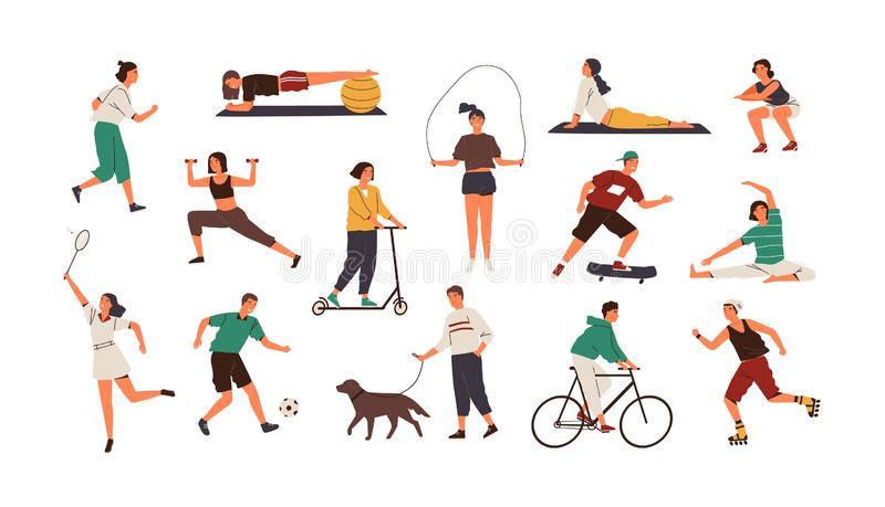 Set of funny people performing sports activities, fitness workout or playing games. Bundle of training or exercising men royalty free illustration