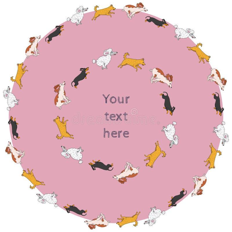 Download Set Of Funny Running Dog Circle Frames Stock Vector - Illustration: 43711798