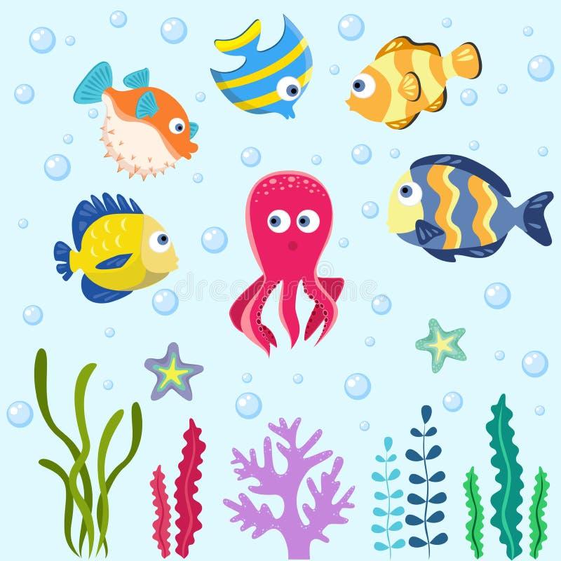 Set with funny sea animals. stock illustration