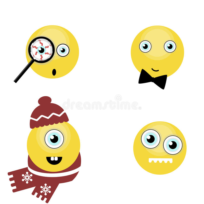 Set of funny smiles. vector stock illustration