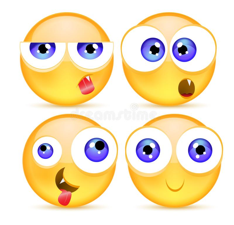 Set of funny smileys. Cute yellow facial expressions collection. Emoji. Vector illustration. Funny Cartoon Smileys. royalty free illustration