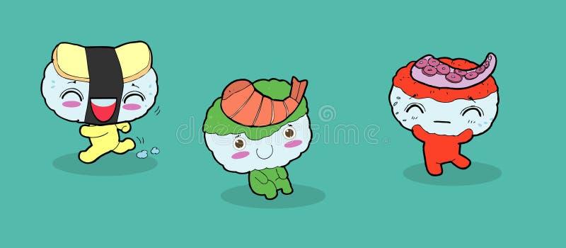 Set of Funny sushi characters. Happy cartoon sushi characters. kawaii sushi , Tasty japanese food set. Asian food vector vector illustration