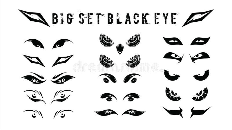 Set of funny, tribal, and evil eyes in the dark simple - vector illustration royalty free stock images