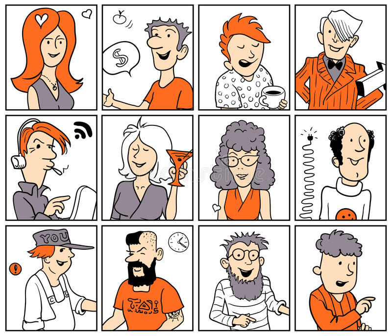 Set of Funny Vector Doodle People royalty free illustration