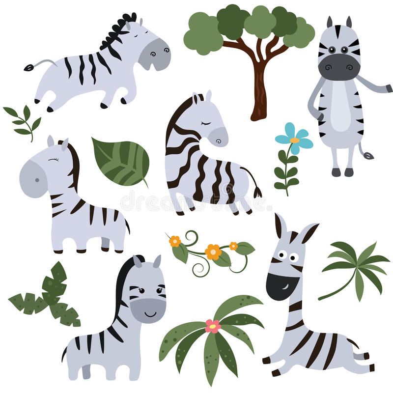 Set funny zebras stock illustration